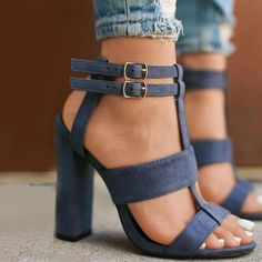 23927409913 Plain Suede Buckle Hollow Chunky Heel Sandals Pump Shoes