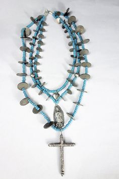 Antique Silver Guatemalan Coins & Cross, Silver Virgen of Guadalupe, Vintage Trade Bead Chachal neckalce from Guatemala by ColeccionLunaVintage