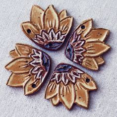 Sunflower handmade ceramic focal by kylieparry on Etsy,