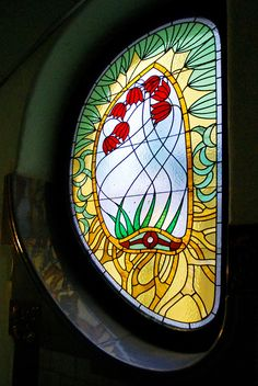 Stair-case window. Bedő House, built in 1903. Architect Emil Vidor. Today a museum and café, and a dwelling-house: House of Hungarian Art Nouveau - A Magyar Szecesszó Háza.