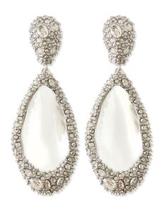 Medium Crystal-Encrusted Clear Lucite Clip Earrings by Alexis Bittar at Neiman Marcus.