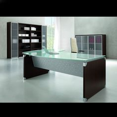 Modern Contemporary Office Desks and Furniture - Executive Office, Glass, Italian Desks Classic Office Furniture, Commercial Office Furniture, Corner Office, Home Office, Office Desks, Office Spaces, Glass Desk, Glass Table, Contemporary Office Desk