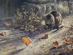 Autumn cat paintings. Paul Monteagle - Autumn breeze