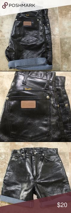 """Wranger Wax Denim Shorts Super Badd Axx Black Wax Coated High waist style Denim shorts by Wrangler!  Very Rare  Size Tags not there! Fits like size small, Waist 27 Length 18"""" (Unrolled) Pre-Owned; Great Condition Like New Wrangler Shorts Jean Shorts"""