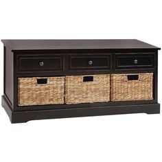 This storage bench with baskets would be perfect for a mudroom or entryway! #storage #organization