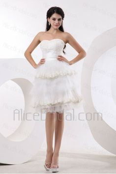 Tulle Sweetheart Knee-Length A-line Wedding Dress with Embroidered - Alice Bridal