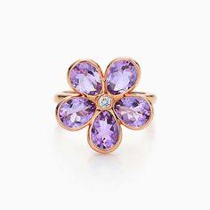 Tiffany Sparklers flower ring in 18k rose gold with amethysts and a diamond.