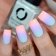 Want some ideas for wedding nail polish designs? This article is a collection of our favorite nail polish designs for your special day. Pastel Nail Polish, Best Acrylic Nails, Summer Acrylic Nails Designs, Lilac Nails Design, Pastel Nail Art, Ombre Nail Art, Bright Summer Acrylic Nails, Squoval Acrylic Nails, Ombre Nail Colors