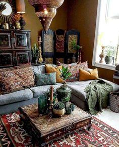 90 Modern Bohemian Living Room Inspiration Ideas -… – - Decoration For Home Bohemian Living Rooms, Indian Living Rooms, Bohemian House, Eclectic Living Room, Living Room Designs, Living Room Decor, Modern Bohemian, Bohemian Decor, Bohemian Style