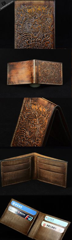 Handmade custom Total Deathcore band carved leather short wallet for men #Deathcore  link:http://www.everhandmade.com/collections/short-wallets/products/handcraft-custom-total-deathcore-band-carved-leather-short-wallet-for-men