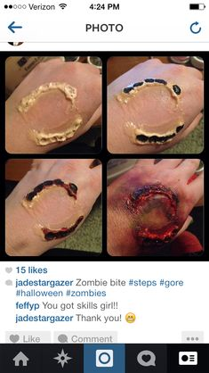 Zombie make up from October 2013. Used liquid latex, fake blood, and a mixture of bruise makeup and eye shadows