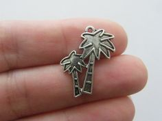 BULK 30 Palm tree charms 25 x 18mm antique silver tone T56 by nicoledebruin on Etsy