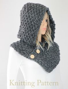 PDF PATTERN of how to make the Oslo Hooded Cowl scarf. NOT A PHYSICAL SCARF FOR SALE. ♦ Hooded cowl pattern for the Oslo Cowl knit scarf pattern #25. You will be proud to wear this fashionable and cozy cowl you knitted yourself or surprise a loved one with this one-of-a-kind