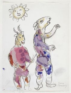 Marc Chagall illustration from his set design for the 1967 Metropolitan Opera production of Mozart's The Magic Flute.