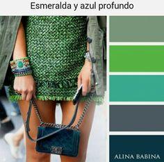 Esmeralda y azul profundo