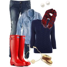 Blue jeans, chambray, blue sweter red hunter boots