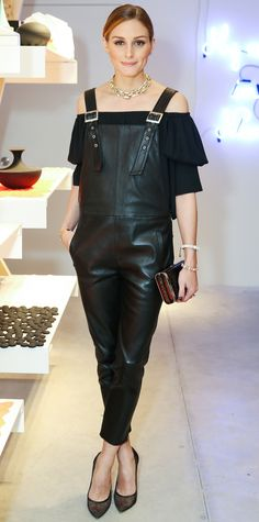 No surprise here: Olivia Palermo pulled off a pair of black leather overalls like a pro.