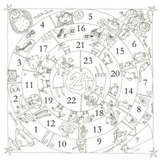 Circular Advent Calendar--would be fun to make our own version using the Jesse Tree images Christmas Calendar, Christmas Games, Christmas Countdown, Christmas Activities, Christmas Printables, Christmas Colors, Christmas Projects, Christmas And New Year, Winter Christmas