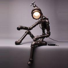 Cyborg pipe desk lamp