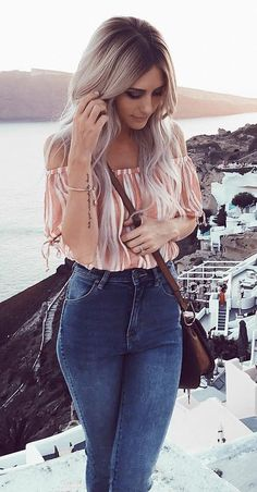 #pretty #winter #outfits /  Off Shoulder Pink Top // Skinny Jeans
