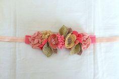 Festive Wool Felt Flower Mini-Crown // Coral by fancyfreefinery
