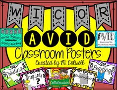 FREE AVID & WICOR Classroom Posters!! These posters are great to decorate your AVID classroom! Product includes: Classroom posters for AVID (Advancement Via Individual Determination) and WICOR (Writing, Inquiry, Collaboration, Organization, and Reading).