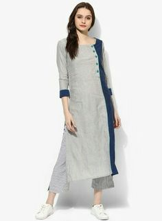 Simple Kurti Designs, Salwar Designs, Kurta Designs Women, Plain Kurti Designs, Dress Neck Designs, Blouse Designs, Kurtha Designs, Khadi Kurta, Kurta Patterns