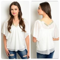 Boho Chic White Gold Top Beautiful white sheer top with gold neckline. The perfect boho chic shirt to go with anything: leather leggings, flowing skirts, shorts, you name it! Made of 100% polyester. Available in small and medium. Tops