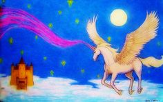 """""""Fantasy Unveiled"""" by Angela K. Scott. ~Pastels (with some enhancement).  ---- Art, Artwork, Alicorn, Horned Winged Horse, Flying Horse, Equine, White Steed, Fantasy, Myth, Flight, Night, Nighttime, Moon, Moonlight, Starry Skies, Stars, Nightscape, Castle in the Sky, Castle in Clouds, Magical Powers, Middle Ages, Medieval, Magic, Imagination, Dream, Scene, Beautiful, Calm, Mythical, Mystical, New Age, Realism, Realistic."""