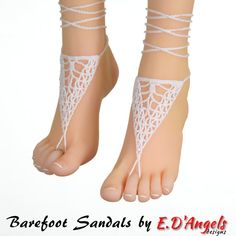 Barefoot sandals yoga TRIANGLE White by LassCrochet on Etsy
