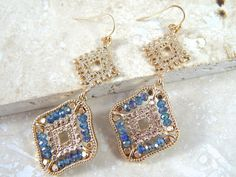 """Royal Summer Drop Earrings """"Beautiful hues of of blue and purple with these iridescent drop earrings"""""""