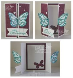 Double Z Pop-Up Butterfly Card. Includes YouTube video. Stampin' Up! Butterflies & Bold Butterfly Framelits Dies. Butterfly Basics stamp set and Bohemian DSP. Debbie Henderson, Debbie's Designs.