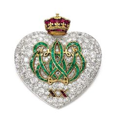 The Duchess of Windsor's emerald, ruby and diamond 20th anniversary brooch, mounted by Cartier, Paris, 1957.