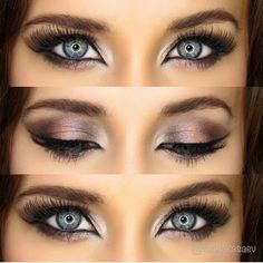 Beautiful makeup for blue eyes, pink metallic naked 3 palette makeup ideas