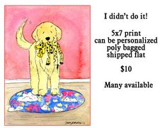 Whimsical Golden Retriever Stuffing print 5x7 by JennysDogArt, $10.00
