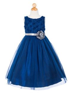 Navy Tulle and Mesh Flower Bodice Flower Girl Dress (Available in Sizes Infant to 12 in 5 Colors)