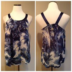 """Navy blue printed top Like new adorable sheer printed top with satin shoulder straps. Brand is TwentyOne. Size M: 17""""UA, 27""""L. Forever 21 Tops Blouses"""