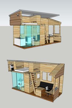 interior plan for a tiny house, to be built on an 8 x 20 trailer
