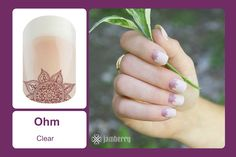 This matte finish, yoga-inspired design is sure to bring out your inner yogi! With a partially clear background, 'OHM' is perfect for layering or worn on it's own for achieving that au-naturel look. #bevsjamminnails https://bkimball.jamberry.com/us/en/shop/products/ohm#.VxfNh_krJQI