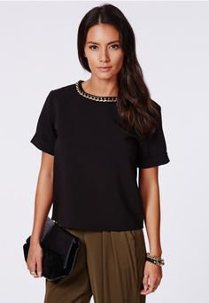 Elodie Premium Chain Detail Shell Top Black - Tops - Missguided
