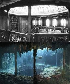 Photo of the grand staircase of the Titanic before she sank contrasted with a photo of the staircase from the same angle 100 years later Rms Titanic, Titanic Le Film, Titanic Wreck, Titanic Photos, Titanic Sinking, Titanic History, Titanic Movie Facts, Titanic Boat, Titanic Underwater
