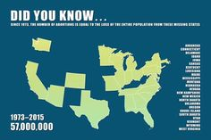 Since 1973 the number of abortions is equal to the loss of the entire population from these missing states