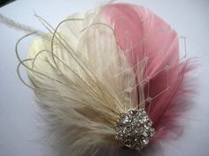 A beautifully handmade wedding bridal ivory antique french pink fascinator.     >> Great for brides and bridesmaids looking for beautiful looking hairpieces