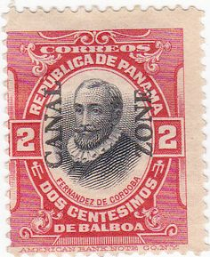 Canal Zone Overprint Panama Cordoba 2 Cent Postage Stam by onetime, $20.00