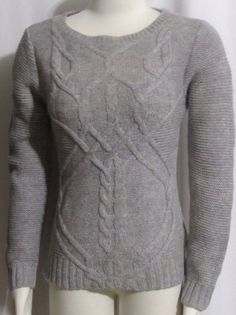NEW Womens Ladies MAISON JULES Gray & Colorful Woven Cableknit Casual Sweater S #AnneKlein #ScoopNeck