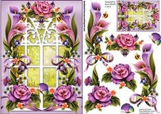 Pretty Window Scene Floral Topper on Craftsuprint designed by Karen Wyeth - A pretty floral scene topper with additional decoupage items. Would suit a range of occasions. xk - Now available for download!