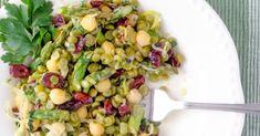 Healthy Spring Salad with Garbanzo Beans #Chickpea #garbanzobeans #garbanzos #chickpeas #cook #dinner #vegan #veganrecipes #veganfood #healthylifestyle #healthy #healthyfood #nutrition Garbanzo Bean Recipes, Cooking Garbanzo Beans, Lentil Recipes, Pea Recipes, Salad Recipes, Healthy Recipes, Green Split Peas, Pea Salad, Spring Salad