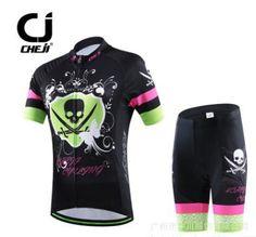 2017 CHEJI Womens Skeleton Cycling Bike Jersey Shorts Top Gel set Suits Green-Black