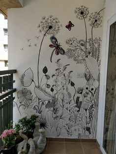 WIld flowers removable wallpaper - Garden flowers wall mural, Watercolor, Bright wallpaper, Colorful wall decor, Wall decals 89 An entry from A Turtle's Salon du The Helle Wallpaper, Bright Wallpaper, Walled Garden, Wall Drawing, Diy Décoration, Easy Diy, Mural Art, Wall Mural Decals, Colorful Interiors