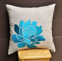 Blue Throw  Pillow Cover, Blue Flower on Light Dessert Sand Linen, Embroidered Pillow, Flower Pillow Accent, Cushion Cover 18 x 18